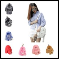 Wholesale Hand Puppets For Kids - Fashion Pendants for Women 13cm 18cm Pompoms Bunny Keychains 40 Colors Rabbit Pom pom Car Bag Fur Ball Key Ring