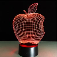 Cheap Novelty Home Decor Seven Colors Changing Apple Christmas Lights 3d Visual Led Night Light