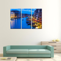 Wholesale art oil painting venice for sale - Group buy 3 Panels Venice Night View Canvas Paintings Artwork Print Landscape Wall Art Painting with Wooden Framed For Modern Home Decoration