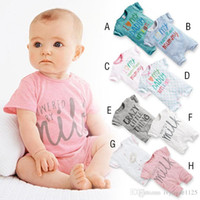 Wholesale Infants Milk - RMY17 NEW 8 Design infant Kids Milk Letter style Cotton Cool short sleeve Romper baby Climb clothing boy girl Romper free ship
