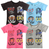 Wholesale Halloween Novelties Glasses - AbaoDo new arrival short sleeve kids T shirts 100% cotton baby boys girls glasses graffiti tops t-shirt summer children clothing