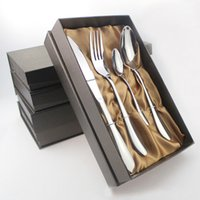 Wholesale Spoon Fork Knife Boxes - Stainless Steel Italian Tableware Knife Fork Spoon Cutlery with Teaspoon Dinnerware Cutlery Set 4 Piece with Gift Box
