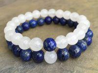 jade branco pedra preciosa venda por atacado-8mm Pulseira Lapis Lazuli, 8mm Branco Jade Pulseira, Pulseira De Contas De Pedras Preciosas Elastic Gemstone Bracelet, Presentes
