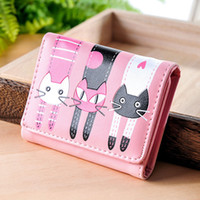 Wholesale Leather Wallet Cat - 2017 High quality Brand Lovely Cat Wallet Women Short PU Soft Leather Wallet Female cat Candy Color Hasp Purse carteira feminina