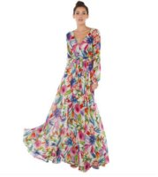 Wholesale Tattoo V - 2017 CHEAP Spring and summer tattoo flowers printed sexy V-neck lantern sleeves fold big evening dress