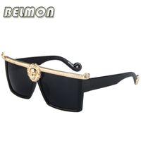 dame lunettes de soleil or achat en gros de-Lunettes de soleil mode gros-2019 hommes femmes méduse or 3D Lion marque Designer lunettes de soleil pour les dames Vintage Oculos Femme Homme RS003