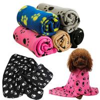 battaniye pençe baskılar toptan satış-Yüksek Kaliteli Pet Kedi Köpek Yavrusu Kış Battaniye Sıcak Yataklar Mat Kapak Polar Paw Print Son