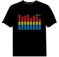 Wholesale Sound Activated Novelties - 2017 Hot Sell Sound Activated LED T-Shirt For Men, Women,Kids Flashing EL Light Up Customized Manufactured is Available