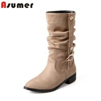Wholesale Wedge Sexy Brown High Boots - Wholesale- ASUMER Big size 34-49 fashion women's flat heels ankle boots pointed toe sexy female winter shoes casual buckle woman boots