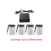 Wholesale drone battery charger - wholesale RC Battery Charger 4 In 1 1pc X4 and 4pcs 3.7V 500mAh Lipo Battery for RC quadcopter Drone battery parts