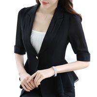 Wholesale Tunic Tops Ruffles - Women Ruffle Half Sleeve Blazers Slim OL Fashion Ladies Blazers And Jacket Tunic Top Elegant Outwear blazer feminino