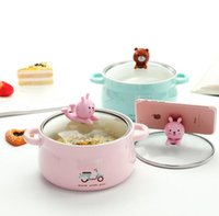 Wholesale Noodle Bowls - Cartoon creative mobile phone shelf bowl with cover instant noodles ceramic bowl lovely students soup bowl