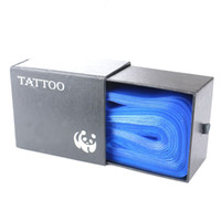 Wholesale Tattoo Machine Covers Bags - Wholesale- 100pcs Tattoo Clip Cord Bag Cover Safety Disposable Hygiene Plastic Blue Tattoo Machine Clip Cord Sleeve Cover Bag With Box