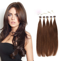 Wholesale Micro Ring Hair Extensions Red - Indian Micro Ring Loop Hair Extensions Brazilian Hair Straight 16-26inch Micro Loop Human Hair Extensions #1b #4 #613 #red