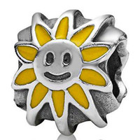Wholesale Silver Smile Charms - New! 2015 New Fashion Sun Smiling Charm 925 Sterling Silver European Charms Bead Fit Snake Chain Bracelet Popular DIY Jewelry