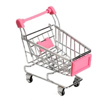 Wholesale Mini Supermarket Cart - Wholesale- 1Pcs Mini Supermarket Shopping Trolley Phone Holder Office Desk Storage Shopping Cart Toy Handcart Eco-Friendly Basket
