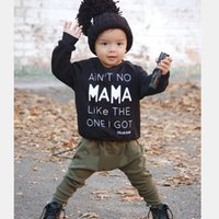 Wholesale Harem Girl Set Pants - Boy Girl Long Clothing Sets Baby Toddler Black Shirts+ Harem Pants Suits Infant Newborn Loose Letter Tops Bottom Children Kids Tees Trousers