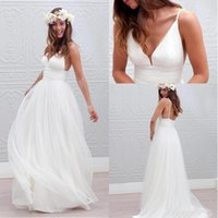 Wholesale 2017 Bohemian Summer Beach Wedding Dresses A Line V Neck Spaghetti Straps Sleeveless Floor Length Bridal Gowns Tull Backless Wedding Gowns