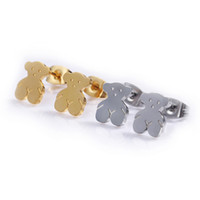 Wholesale Coloured Earrings - TL silver plated gold plated stainless steel bear earrings 2 colours fashion new edition brand jewelry
