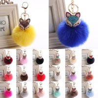 Wholesale fox bags - Fur Pom Pom Keychain Fox Cute Head Fox Fur Ball Key Chain Car Keyrings Woman Bag Accessories Charm C150Q