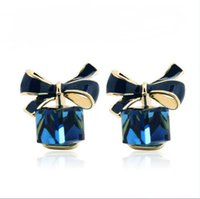 Wholesale Cube Bow Earrings - 2016 New jewelry Shimmer Chic Fashion Bowknot Cube Crystal Earring Gold Square Bow Stud Earrings For Women E194