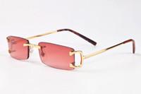 Wholesale Cheap Metal Boxes - new men brand designer sunglasses for women cheap designer rimless sunglasses UV400 metal square oversized sun glasses come with box