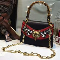Wholesale Fox Pearl - Broche bamboo handle bag women Genuine Leather handbags pearl fox heard insert crossbody bag women famous brand chain shoulder bags