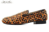 Wholesale Men Leopard Print Loafers - MBL999K Size 36-46 Men Women Leopard Print Leather Genuine Horsehair With Gold Spikes Slip On Round Toe Loafers, Gentleman Party Dress Shoes