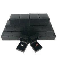Wholesale Black Ring Boxes - 24Pcs Jewelry Ring Box Organizer Black Lizard Pattern Leatherette Ring Box Wedding Engagement Party Ring Gift Box 5*4.5*3.5CM