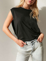 Wholesale Loose T Shirts For Girls - Sexy Sleeveless Bat T Shirt for Girls 2017 Open Side Summer Women's Tops Plus Size Loose Tees