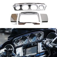 Wholesale Motorcycle Touring - 1 Set For Harley Touring Electra Street Glide Deluxe Tri Line Stereo Trim Ring Cover Ultra Chrome Motorcycle Inner 2014-2017 C 5