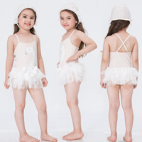 Wholesale Swan Kid - HOT Swan Mesh baby girl swimsuit lace girls swimwear princess pink beach girls bathing suit kids swim suit girl swimming wear
