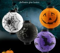 LED Halloween Pumpkin Lights Lámpara Paper Lantern Spiders Bats Skull Pattern Decoración Bulbos Ballons Lamps for Kids Sale