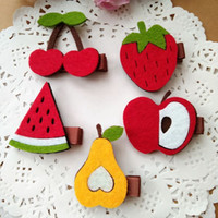 Wholesale Fabric Hairpin - 30pcs lot High quality Non-woven fabric Fruit style kids Baby hair accessories children girls hair clips hairpins
