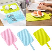 Wholesale Soft Pads Handle - Wholesale- 2016 Creative soft silicone tableware mat anti slip heat resistant kitchen pad dish coaster foldable with handle