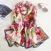 Wholesale Silk Flower Scarf Big - 180*70cm Flowers Print Lady Mulberry Silk Big Rectangle Scarf Floral-Print 100% Pure Silk Pashmina Shawl Wraps Fashion Hijabs Capes 2017