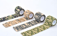 Wholesale Elastic Gun - 10Pcs Lot 5CMx4.5M Reusable Outdoor Camouflage Tape Hunting Camping Cycling Wrap Elastic Tactical Stealth Gun Tape 2017
