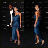 kim kardashian elbise kırmızı toptan satış-Seksi Kırmızı Halı Ünlü Abiye CMA Kim Kardashian Bir Omuz Kılıf Abiye Giyim Örgün Kokteyl Parti Elbise Kadınlar Giyim