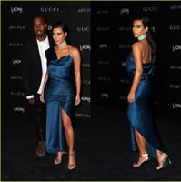 kim kardashian vestidos rojos al por mayor-Sexy vestido de la celebridad de la alfombra roja CMA Kim Kardashian un hombro vestidos de noche de la envoltura formal vestido de cóctel de las mujeres usan