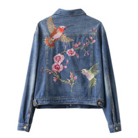 Wholesale Short Women S Down Jacket - 2017 New Fashion Women Short Jeans Bomber Jackets Lady Luxury Floral Birds Embroidery Long Sleeve Turn-down Collar Denim Coats