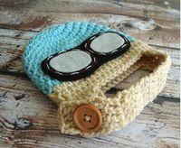 Wholesale crochet baby aviator hat resale online - Aviator Hat Kids Pilot Crochet Knitted Hat Baby Boys Girls Children Beanie Earflap Winter Animal Cap Newborn Infant Toddler Headwear Cotton
