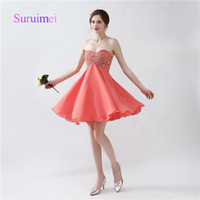 Wholesale Image Arts Photo - Hot Sale Prom Dresses Robe De Soiree Sweetheart Neck Mini Above Knee Chiffon with Beading Evening Gowns