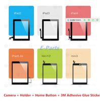 touchscreen einzeln großhandel-(100% Original nicht kopiert) Für iPad 2 3 4 5 Air ipad mini 1 2 3 Touchscreen Digitizer Assembly mit Home-Taste und 3M-Klebstoff-Ersatz