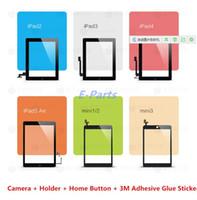 ingrosso pulsante domestico digitatore ipad aria-(Originale al 100% Non copiare) Per iPad 2 3 4 5 Air ipad mini 1 2 3 Touch Screen Digitizer Assembly con pulsante Home e 3M adesivo di ricambio