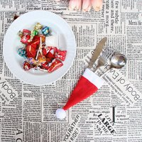 Wholesale mini santa hats - Hot sale Santa Claus Christmas Mini Hat Indoor Dinner Spoon Forks Decorations Ornaments Xmas Craft Supply Party Favor ePacket