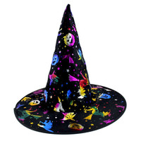 Wholesale dress up props - Halloween costume make-up dress costume gorgeous witch hat witch cap hot gold cap adult performance props Wizards Hat