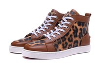 Spikes Red Bottoms Sneakers High Help Leopard-print Pele e Brown Skin Splicing Louisflats Brand Comfortable Casual Shoes Size 36-46