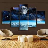 Wholesale Wall Scenery Pictures - 5pcs set Unframed Moon and Star Universe Scenery Oil Painting On Canvas Wall Art Painting Art Picture For Home and Living Room Decor