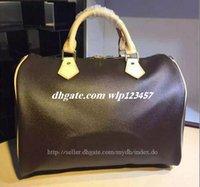 Wholesale Classic Design Handbag - Classic Speedy 30 35 medium Damier Azur With Strap Women pu leather handbag Brown plaid bag brand designs totes bags with lock