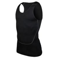 Wholesale Wholesale Workout Shirts - Wholesale- Chic Men Compression Base Line workout Fitness Sleeveless Shirt Vest Breathable Top S-2XL